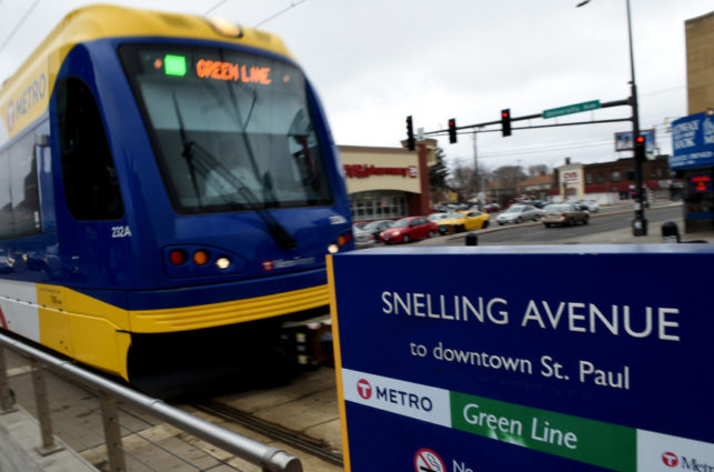 The Snelling Green Line light rail transit stop.
