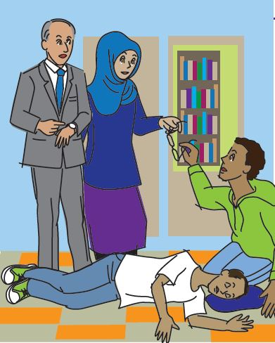 Illustrated drawing of several individuals helping a person having a seizure. One person kneels next to the person having the seizure, cushioning his head and removing his glasses