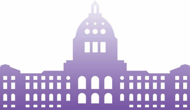 A purple logo of the Minnesota State Capitol building.