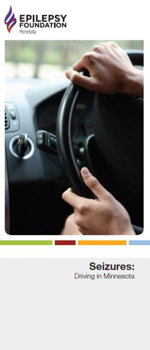Brochure cover — closeup of hands on a steering wheel and title Seizures: Driving in Minnesota.