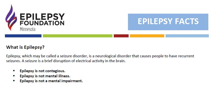 Image of the header of Epilepsy Facts handout, with logo, header, and facts about epilepsy.