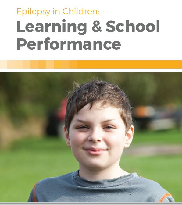 Booklet cover — closeup of young boy smiling with the title, Epilepsy in Children: Learning & School Performance.