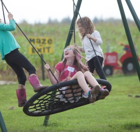 Three elementary aged children swing on a large circle tire swing.