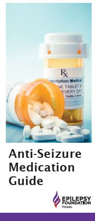 Brochure cover — image of two pill bottles with title, Anti-Seizure Medication Guide.