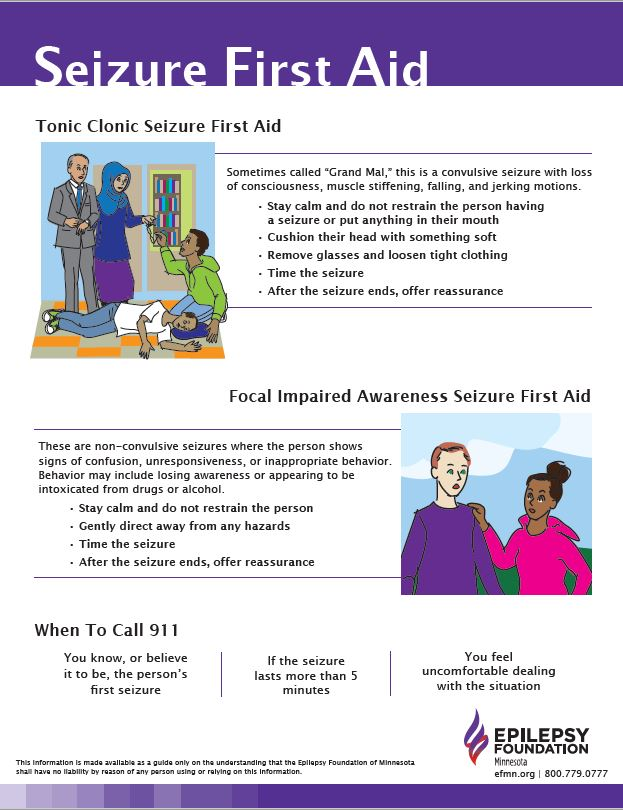 Image of Seizure First Aid poster with illustrations and tips for responding to seizures.