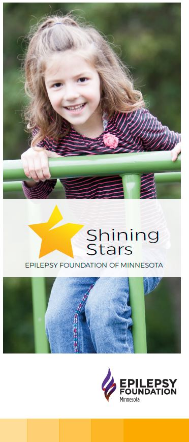 Brochure cover — image of a young child playing on a playground, with the Shining Stars program logo.