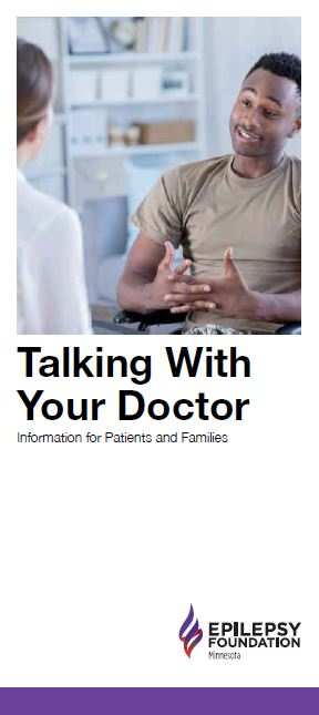 Brochure cover — image of a young man talking confidently to a doctor, and title, Talking With Your Doctor: Information for Patients and Families.