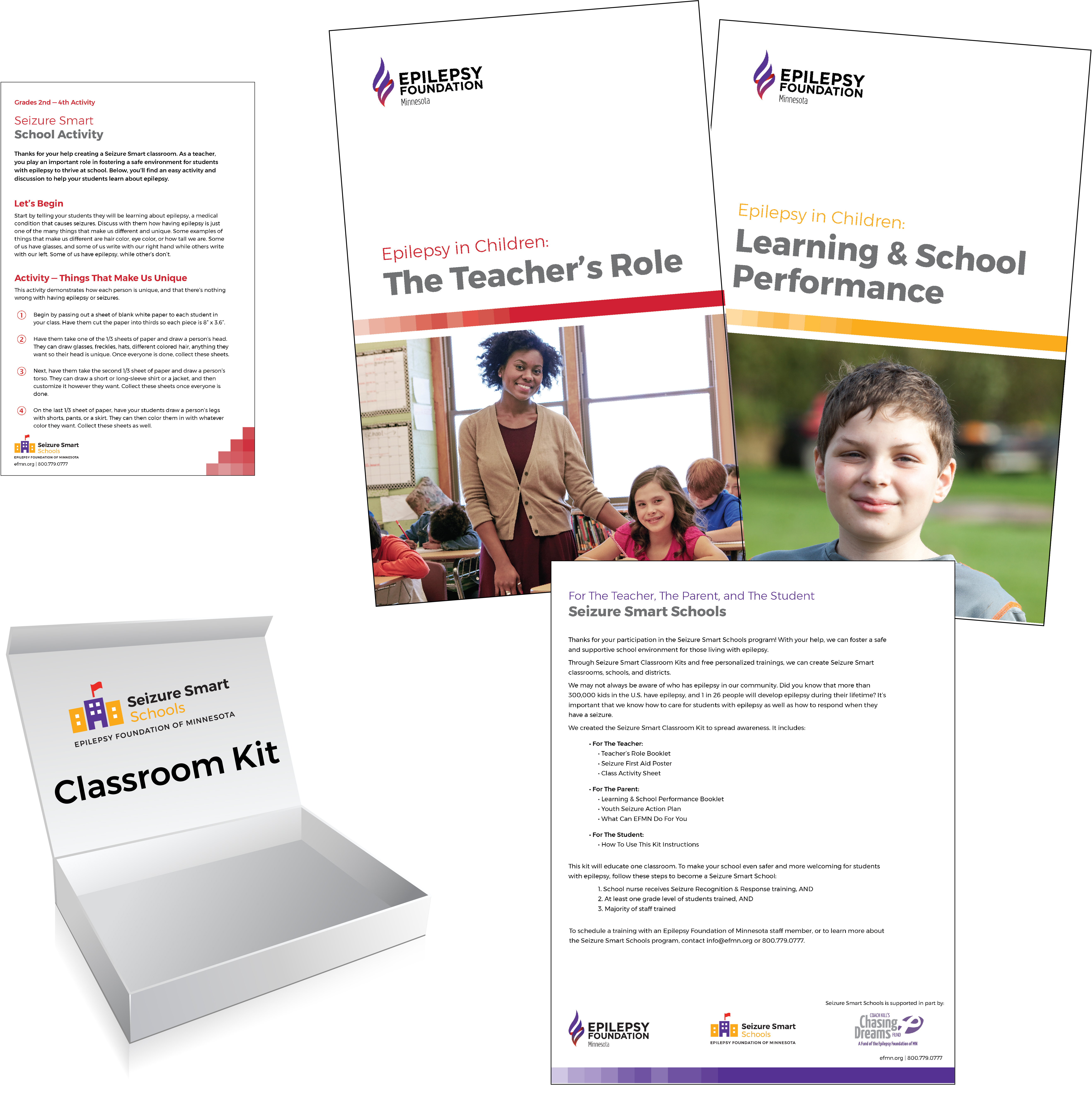 Contents of Classroom Kit with booklets for teachers and parents to understand epilepsy in the classroom.