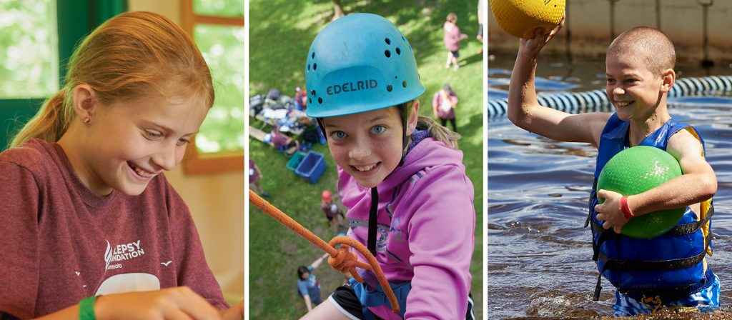 Three photos showing campers doing arts and crafts, rocking climbing wall, and playing in water